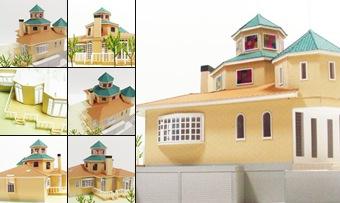"""S=1 ∕ 50 洋風な多角形の屋根の住宅模型"" の表示"